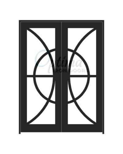 Standard Profile Full Light Decorative Glass Double Iron Door - CIRCLE OID-6080-CIR