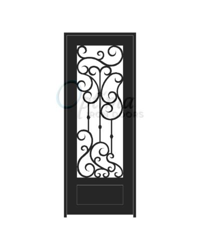 Standard Profile Square Top 3/4's Lite Decorative Glass Single Iron Door - DAPHNE OID-3080-DAP1P