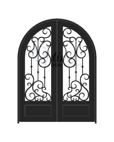 Standard Profile Radius Top 3/4's Lite Decorative Glass Double Iron Door - DAPHNE OID-6080-DAP1PRT