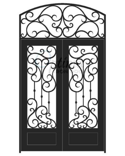 Standard Profile Square Top Full Light w/HT Decorative Glass Double Iron Door - DAPHNE OID-6080-DAP1PSHT
