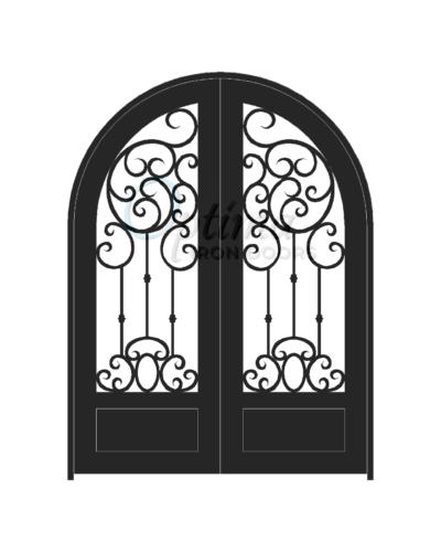 Standard Profile Radius Top 3/4's Lite Decorative Glass Double Iron Door - ELISSA OID-6080-ELI1PRT