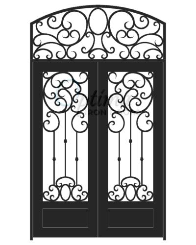 Standard Profile Square Top w/HT Full Lite Decorative Glass Double Iron Door - ELISSA OID-6080-ELI1PSHT