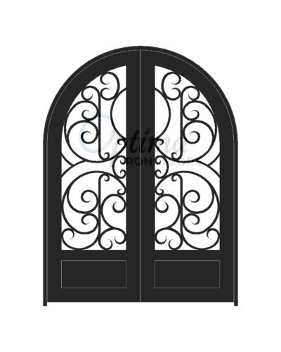 Standard Profile Radius Top 3/4's Lite Decorative Glass Double Iron Door - FARSALIA OID-6080-FAR1PRT
