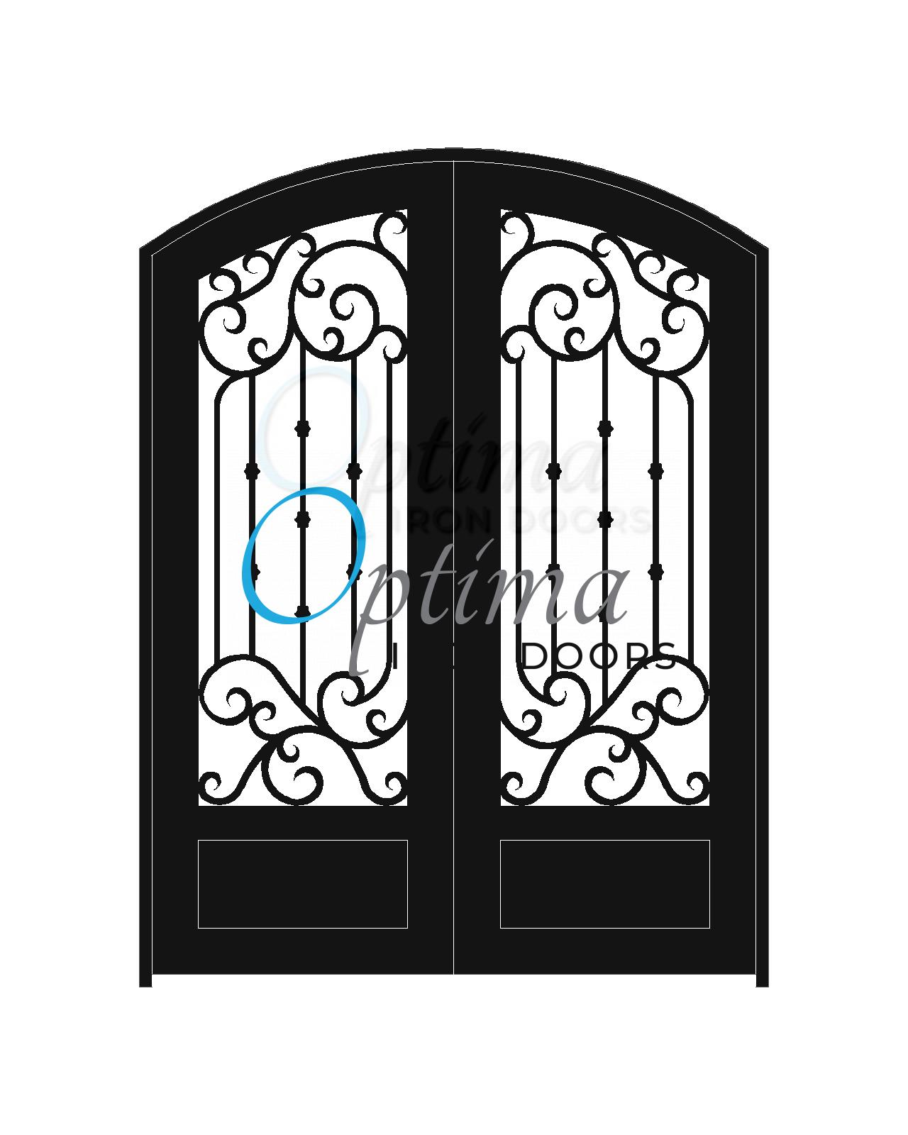 Standard Profile Arch Top 3/4's Lite Decorative Glass Double Iron Door -FIORELLA OID-6080-FIO1PAT