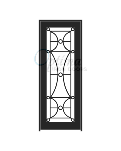 Standard Profile Square Top Full Lite Decorative Glass Single Iron Door - HALF MOON OID-3080-HAL