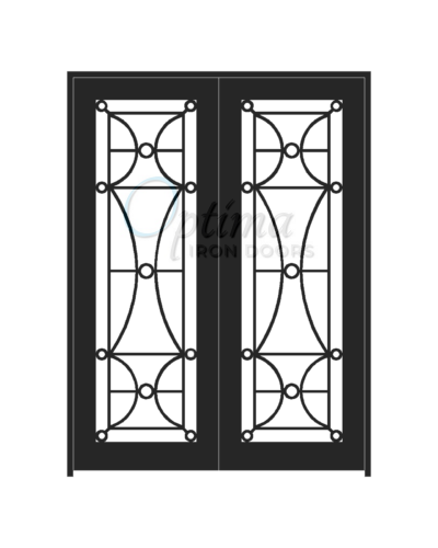 Standard Profile Square Top Full Light Decorative Glass Double Iron Door - HALF MOON OID-6080-HAL