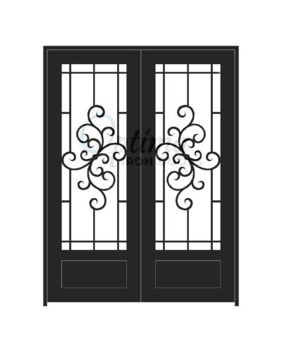 Standard Profile Square Top 3/4's Lite Decorative Glass Double Iron Door - HANNA OID-6080-HAN1P