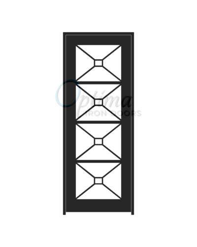Standard Profile Square Top Full Lite Decorative Glass Single Iron Door - ITZA OID-3080-ITZ