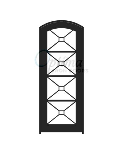Standard Profile Arch Top Full Lite Decorative Glass Single Iron Door - ITZA OID-3080-ITZAT