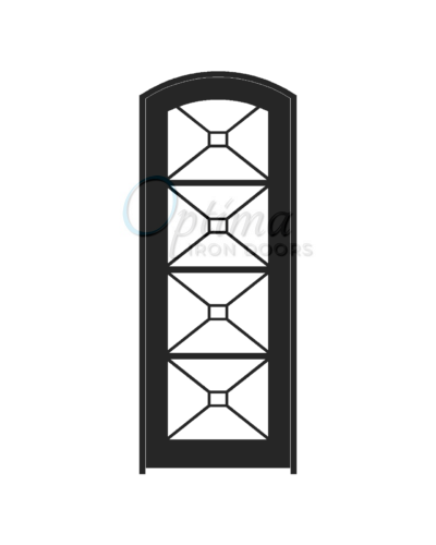 Standard Profile Arch Top Full Lite Decorative Glass Single Iron Door - ITZA OID-3080-ITZAT