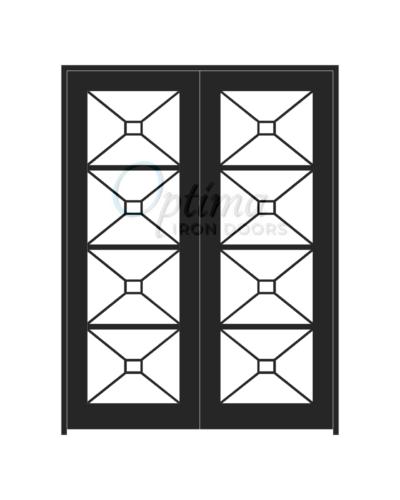 Standard Profile Square Top Full Lite Decorative Glass Double Iron Door - ITZA OID-6080-ITZ