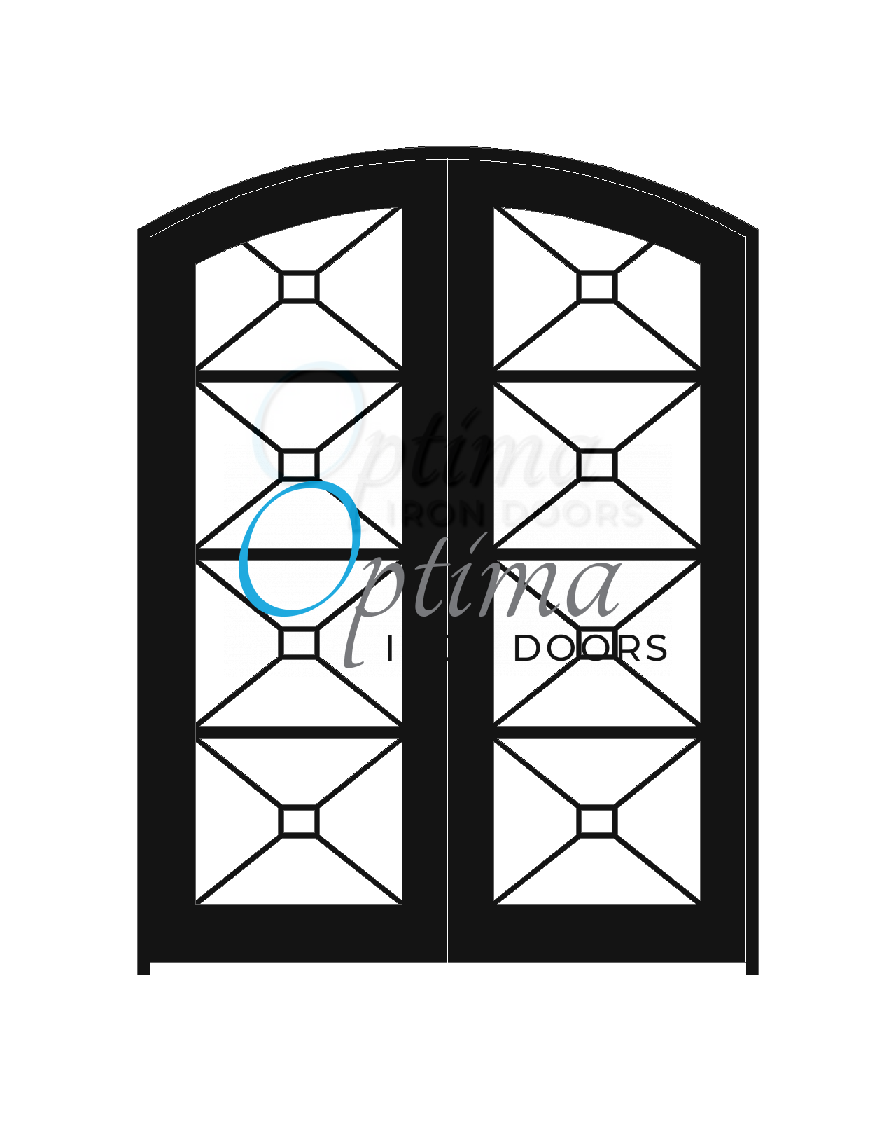 Standard Profile Arch Top Full Lite Decorative Glass Double Iron Door - ITZA OID-6080-ITZAT