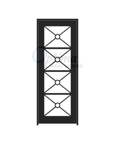 Standard Profile Square Top Full Lite Decorative Glass Single Iron Door - KEOPS OID-3080-KEO