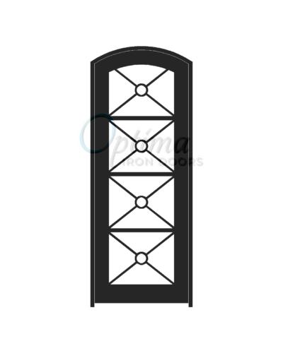 Standard Profile Arch Top Full Lite Decorative Glass Single Iron Door - KEOPS OID-3080-KEOAT