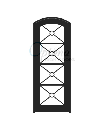 Standard Profile Arch Top Full Lite Decorative Glass Single Iron Door - KEOPS OID-3080-KEOAT