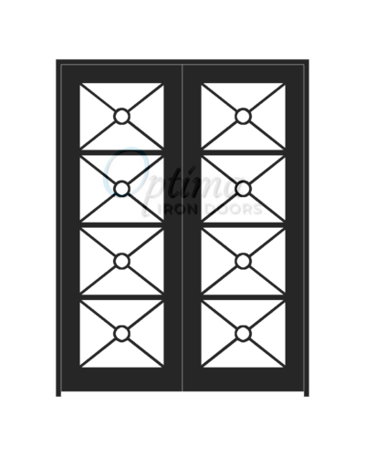 Standard Profile Square Top Full Lite Decorative Glass Double Iron Door - KEOPS OID-6080-KEO