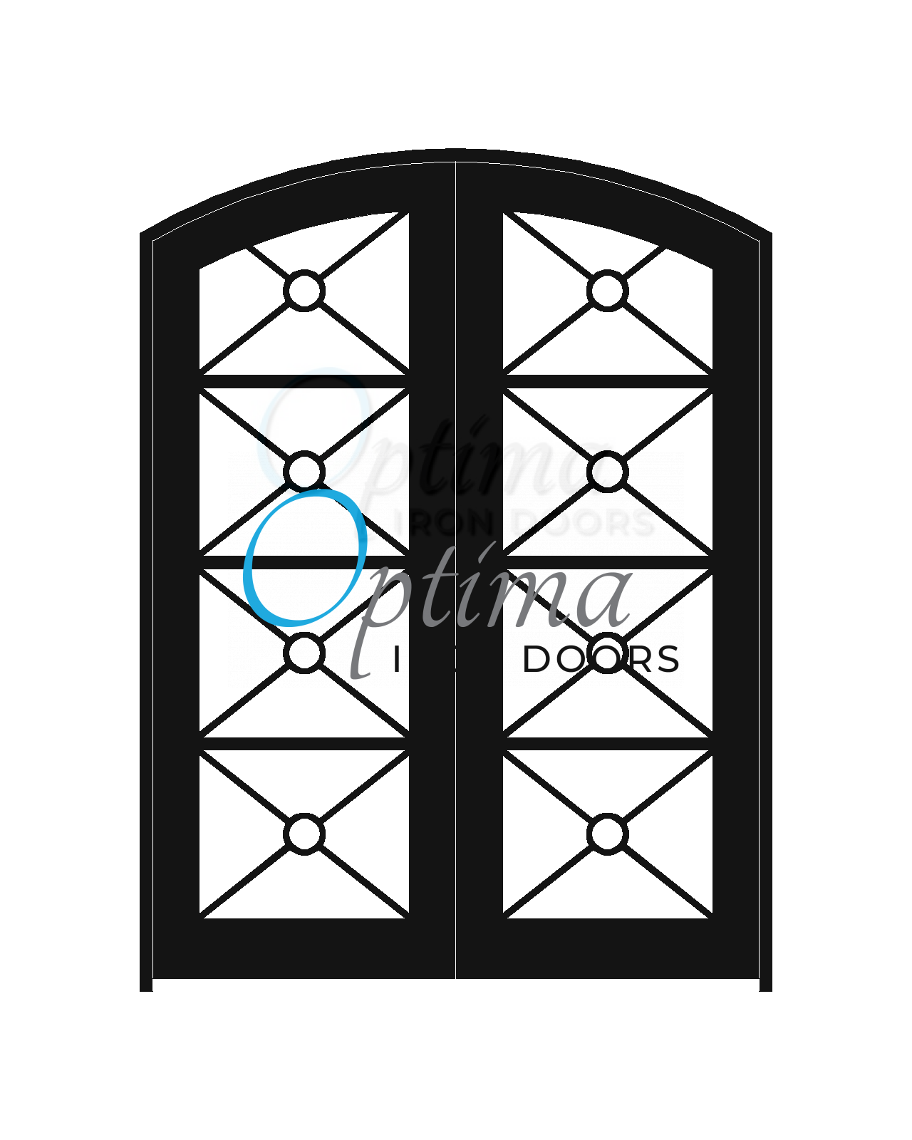 Standard Profile Arch Top Full Lite Decorative Glass Double Iron Door - KEOPS OID-6080-KEOAT