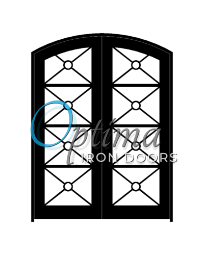 KEOPS Standard Profile Arch Top Full Lite Decorative Glass Double Iron Door – KEOPS OID-6080-KEOAT
