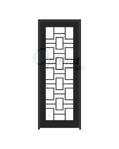 Standard Profile Square Top Full Lite Decorative Glass Single Iron Door - LABYRINTH OID-3080-LAB