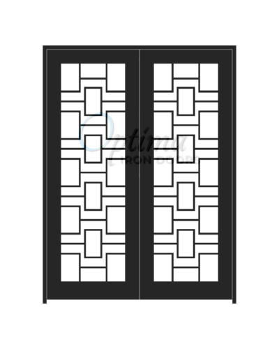 Standard Profile Square Top Full Lite Decorative Glass Double Iron Door - LABYRINTH OID-6080-LAB
