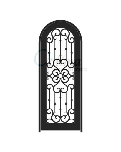 Standard Profile Radius Top Full Lite Decorative Glass Single Iron Door - MADRID OID-3080-MADRT