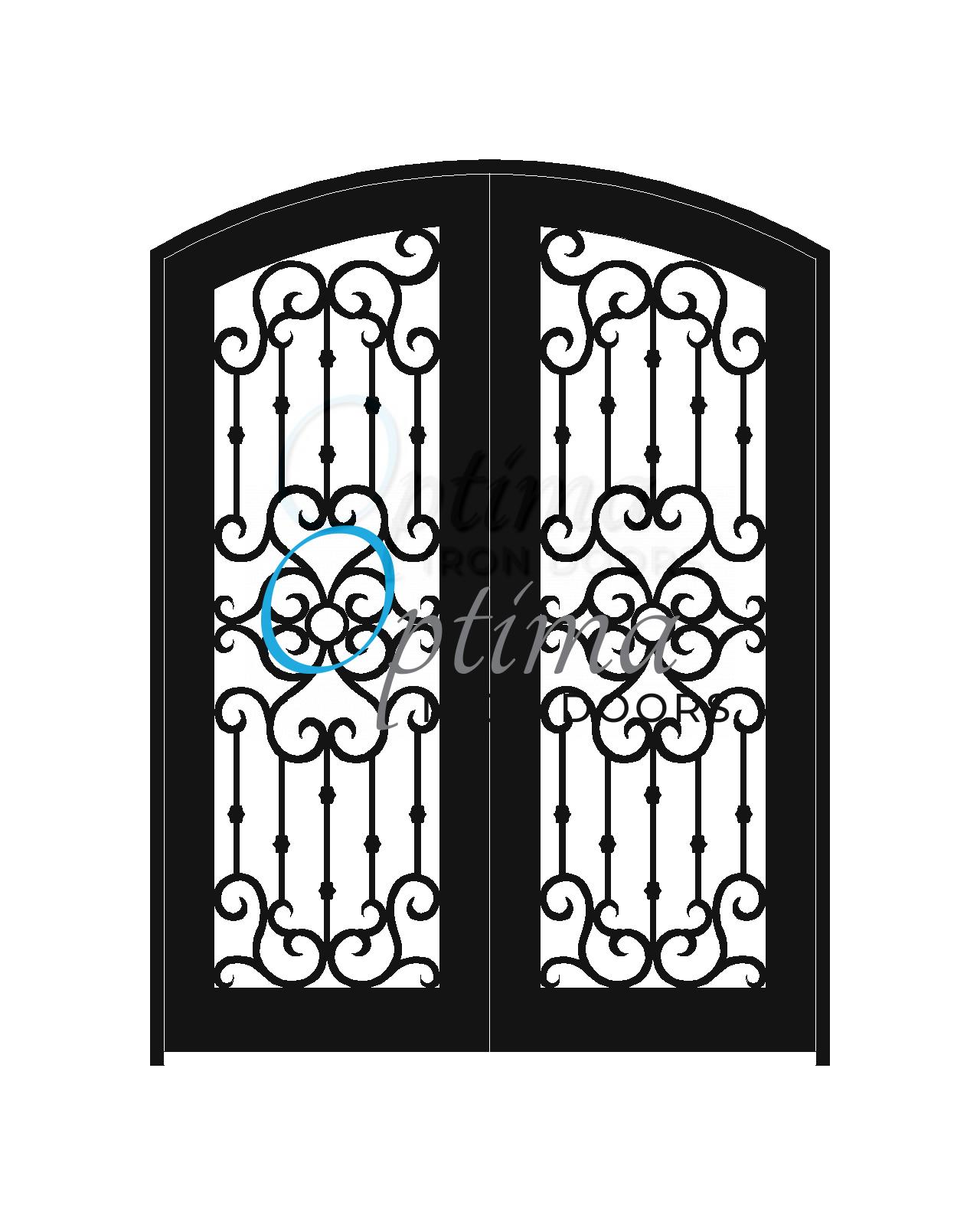 Standard Profile Arch Top Full Lite Decorative Glass Double Iron Door - MADRID OID-6080-MADAT