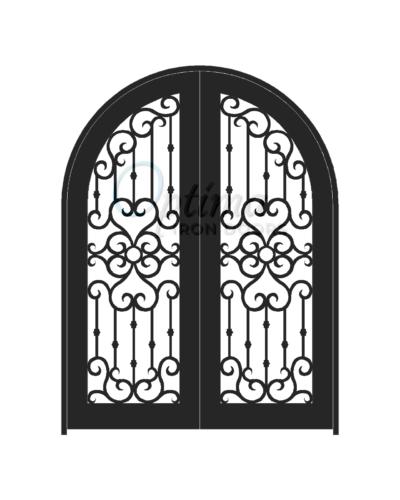Standard Profile Radius Top Full Light Decorative Glass Double Iron Door - MADRID OID-6080-MADRT