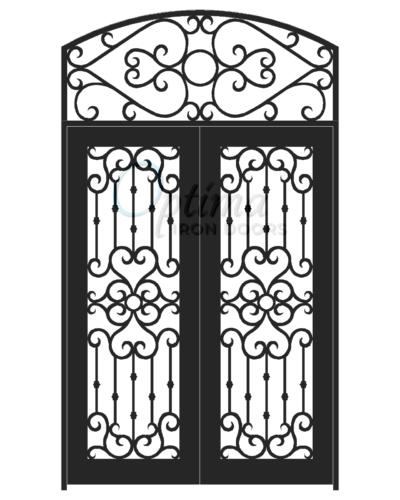 Standard Profile Square Top w/HT Full Lite Decorative Glass Double Iron Door - MADRID OID-6080-MADSHT