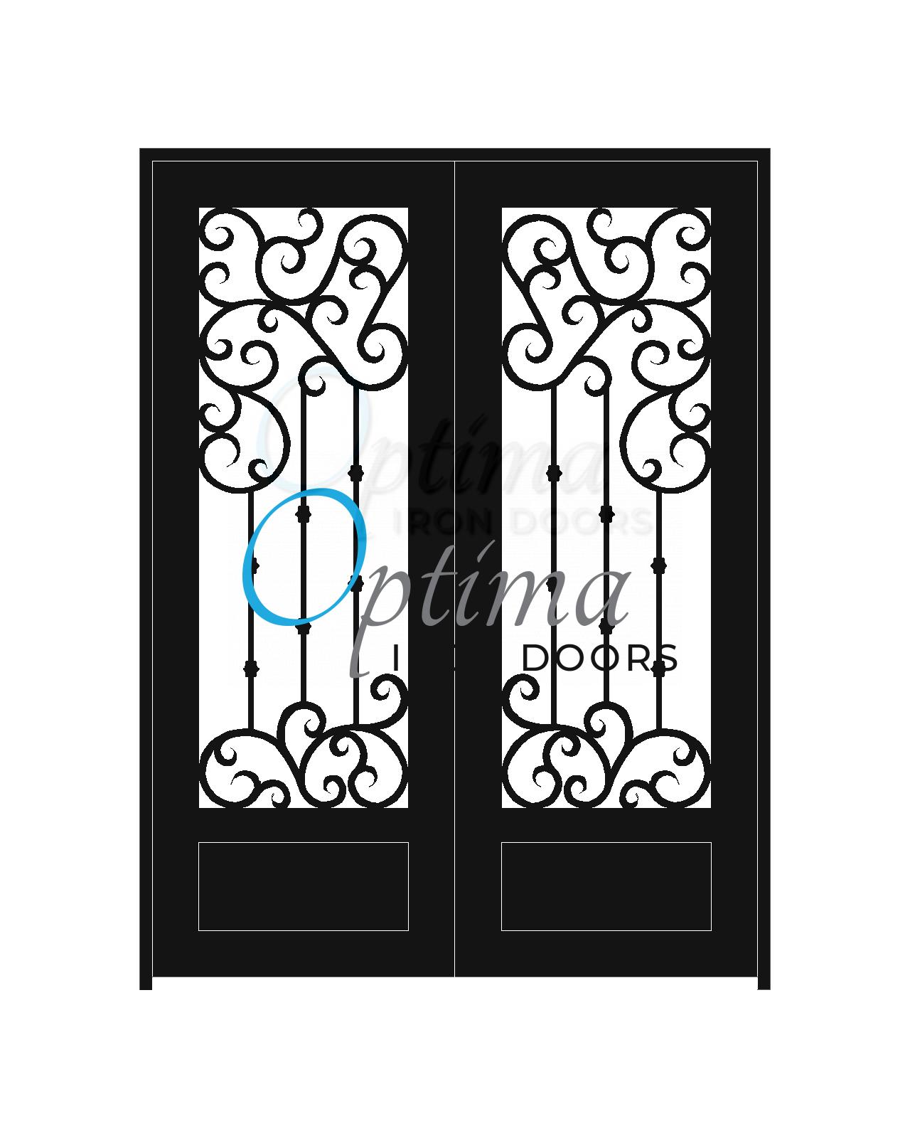 Standard Profile Square Top 3/4's Lite Decorative Glass Double Iron Door - MARAGA OID-6080-MAR1P