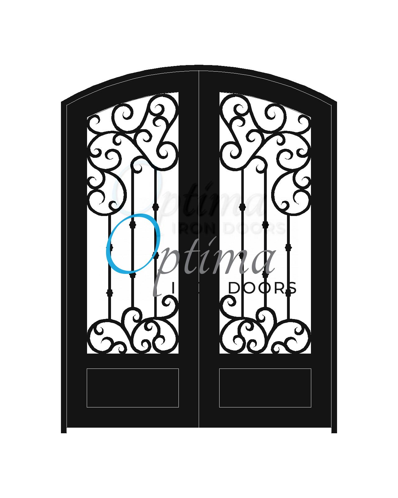 Standard Profile Arch Top 3/4's Lite Decorative Glass Double Iron Door - MARAGA OID-6080-MAR1PAT