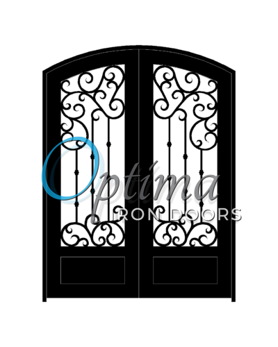 MARAGA Standard Profile Arch Top 3/4's Lite Decorative Glass Double Iron Door – MARAGA OID-6080-MAR1PAT