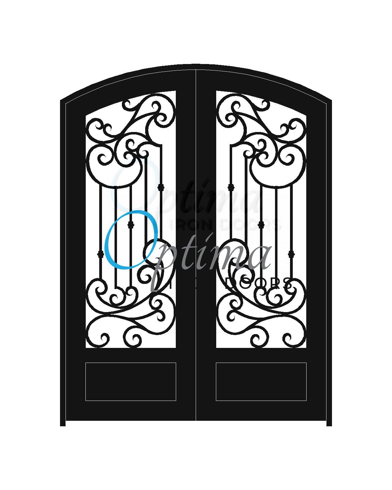 Standard Profile Arch Top 3/4's Lite Decorative Glass Double Iron Door - MURANO OID-6080-MUR1PAT