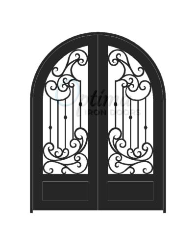 Standard Profile Radius Top 3/4's Lite Decorative Glass Double Iron Door - MURANO OID-6080-MUR1PRT
