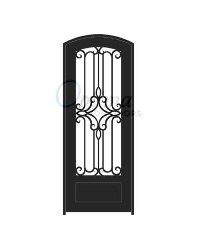 Standard Profile Arch Top 3/4's Lite Decorative Glass Single Iron Door - PRAGA OID-3080-PRA1PAT