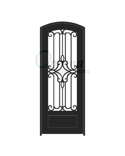 Standard Profile Arch Top 3/4's Lite Decorative Glass Single Iron Door - PRAGA OID-3080-PRA1PAT