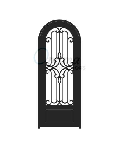 Standard Profile Radius Top 3/4's Lite Decorative Glass Single Iron Door - PRAGA OID-3080-PRA1PRT