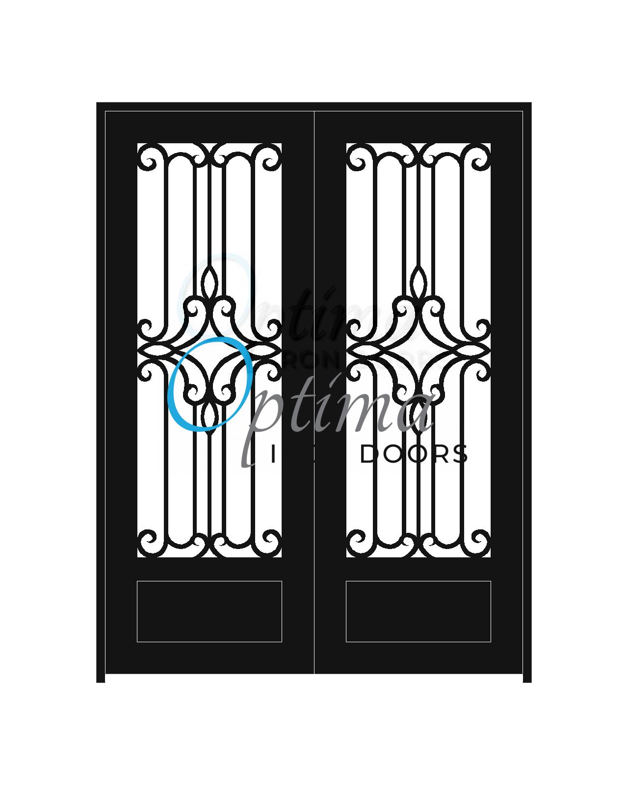 Standard Profile Square Top 3/4's Lite Decorative Glass Double Iron Door - PRAGA OID-6080-PRA1P