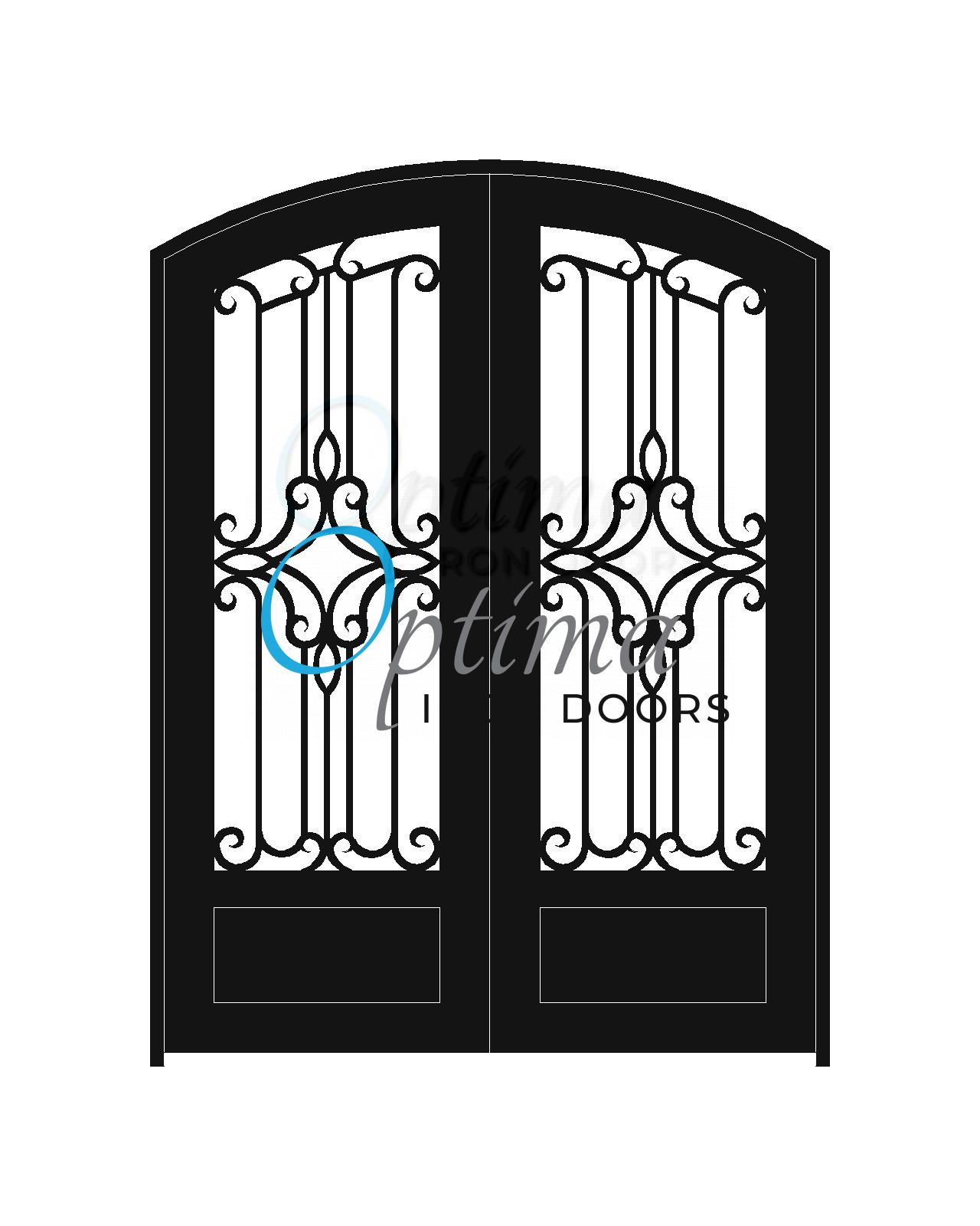 Standard Profile Arch Top 3/4's Lite Decorative Glass Double Iron Door - PRAGA OID-6080-PRA1PAT