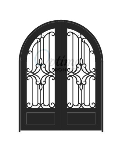 Standard Profile Radius Top 3/4's Lite Decorative Glass Double Iron Door - PRAGA OID-6080-PRA1PRT