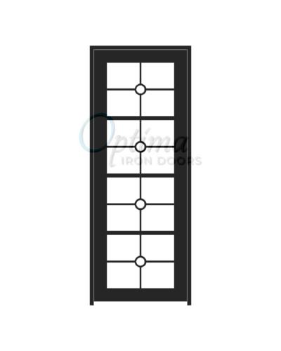 Standard Profile Square Top 4 Lite Full Lite Decorative Glass Single Iron Door - PRESLEY OID-3080-PRE
