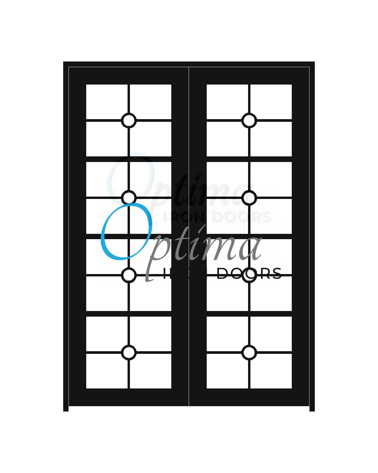 Standard Profile Square Top Full Lite Decorative Glass Double Iron Door - PRESLEY OID-6080-PRE