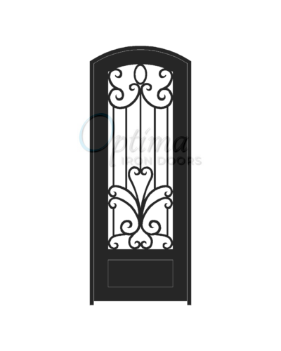 Standard Profile Arch Top 3/4's Lite Decorative Glass Single Iron Door - SOPHIA OID-3080-SOP1PAT