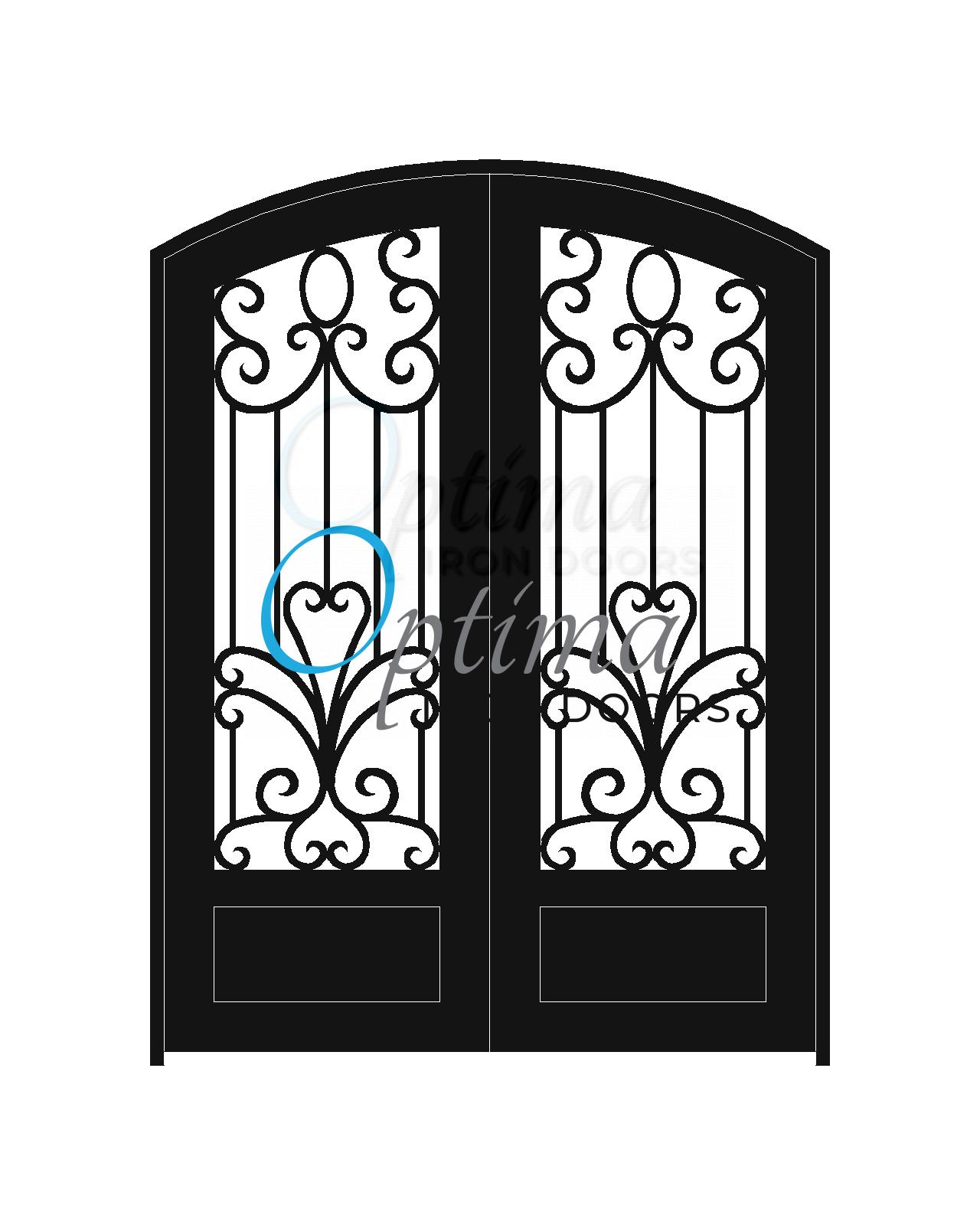 Standard Profile Arch Top 3/4's Lite Decorative Glass Double Iron Door - SOPHIA OID-6080-SOP1PAT