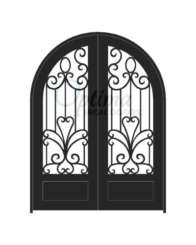 Standard Profile Radius Top 3/4's Lite Decorative Glass Double Iron Door - SOPHIA OID-6080-SOP1PRT