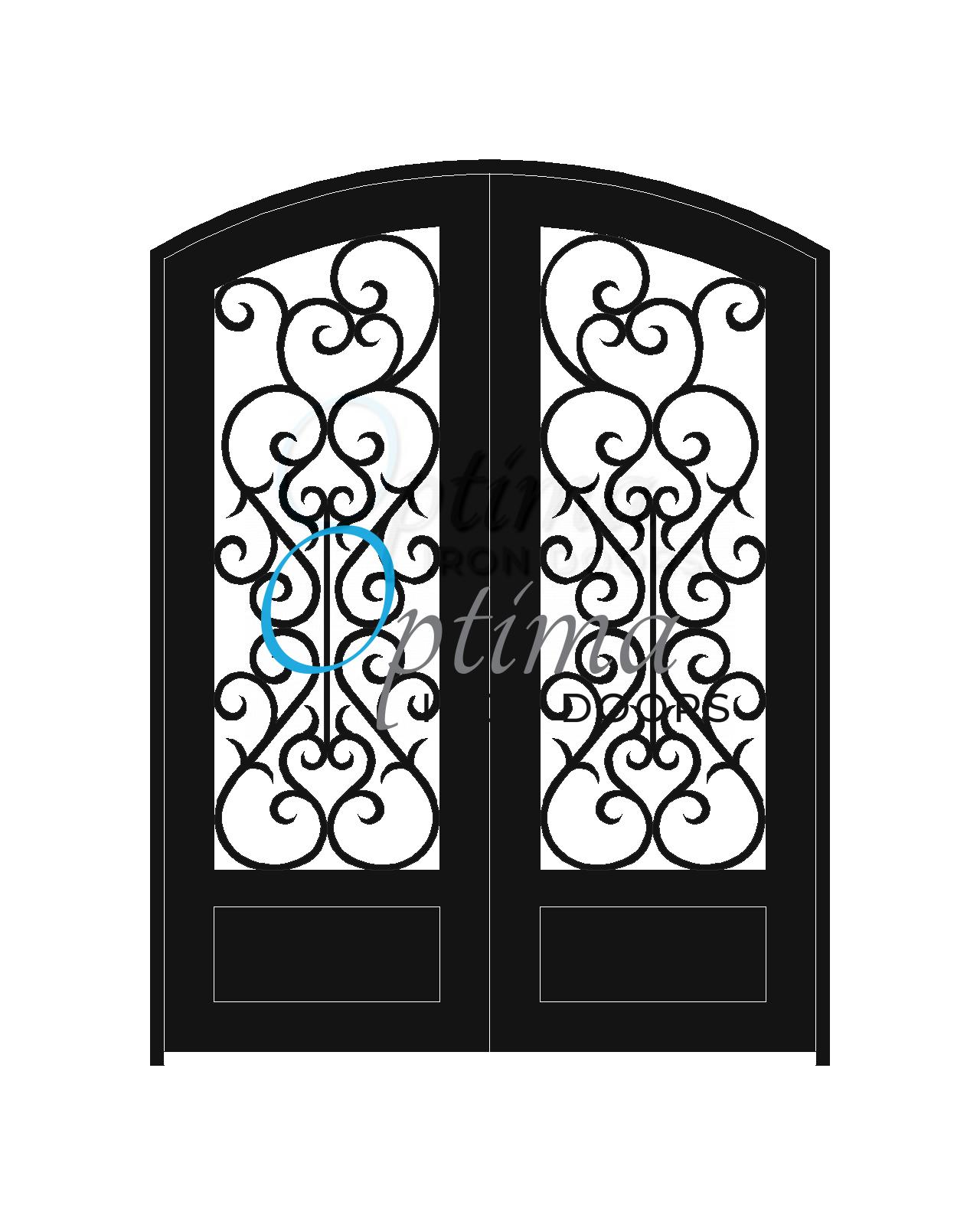 Standard Profile Arch Top 3/4's Lite Decorative Glass Double Iron Door - SYMPHONY OID-6080-SYM1PAT