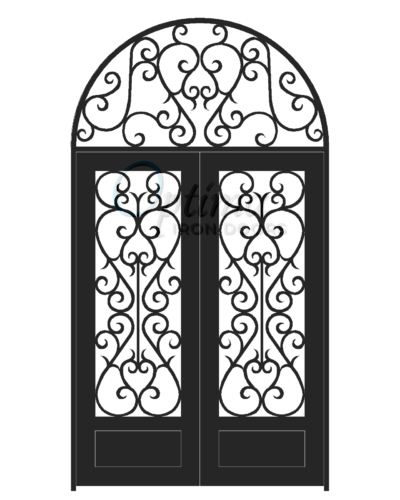 SYMPHONY Standard Profile Square Top w/HT 3/4's Lite Decorative Glass Double Iron Door - SYMPHONY OID-6080-SYM1PHRT