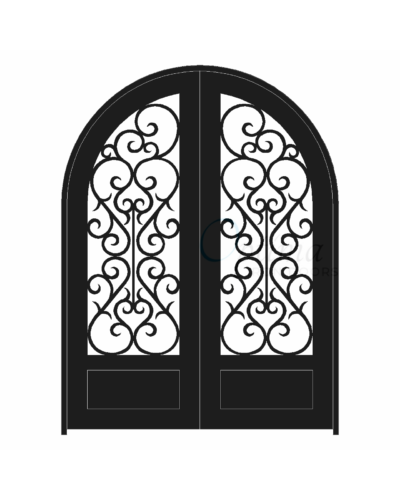 SYMPHONY Standard Profile Radius Top 3/4's Lite Decorative Glass Double Iron Door - SYMPHONY OID-6080-SYM1PRT